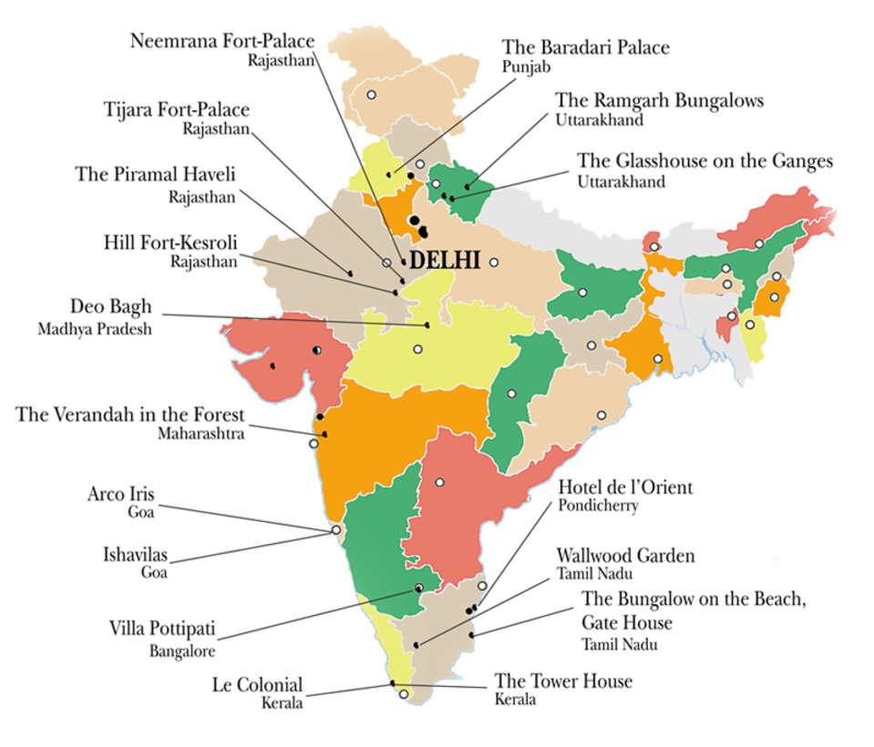 Neemrana Hotels  Map of Neemrana Heritage Resorts in India