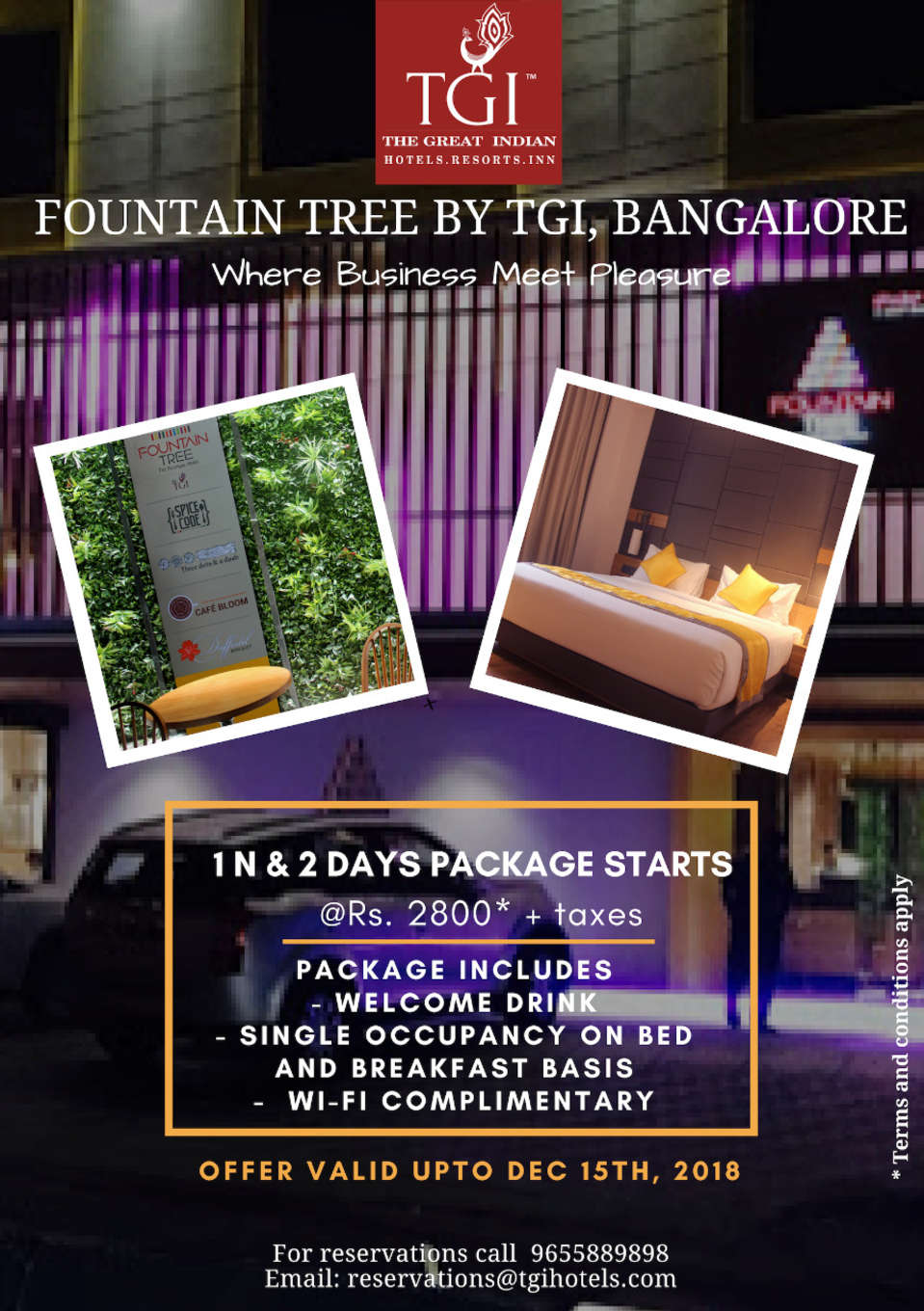 Offer at Hotel Fountain Tree by TGI - JP Nagar Bangalore