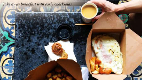 take away breakfast with early check-out at Evoke Hotels