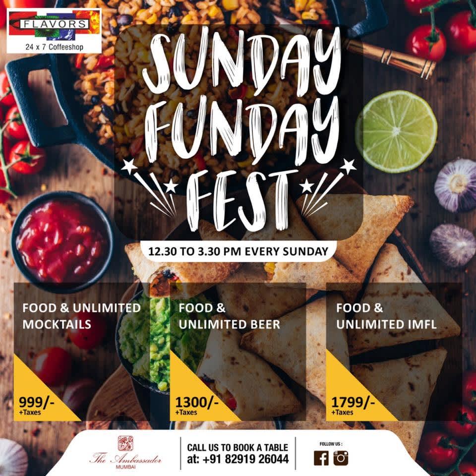 Sunday Funday Fest The Ambassador Mumbai restaurant in South Mumbai