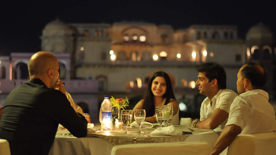Dinner by the elephant stairway_ Hotel Tijara Fort Palace Alwar Rajasthan_Hotel In Rajasthan 2