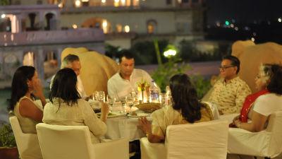 Dinner by the elephant stairway_ Hotel Tijara Fort Palace Alwar Rajasthan_Hotel In Rajasthan 1