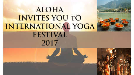 Aloha On the Ganges Rishikesh Yoga festival banner