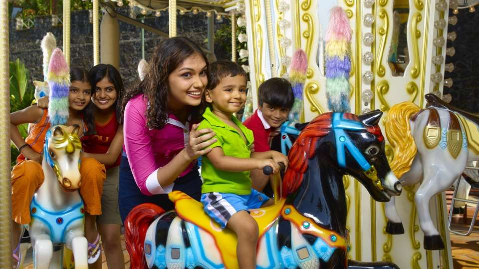 Kids Rides - Jumping Horses at  Wonderla Kochi Amusement Park