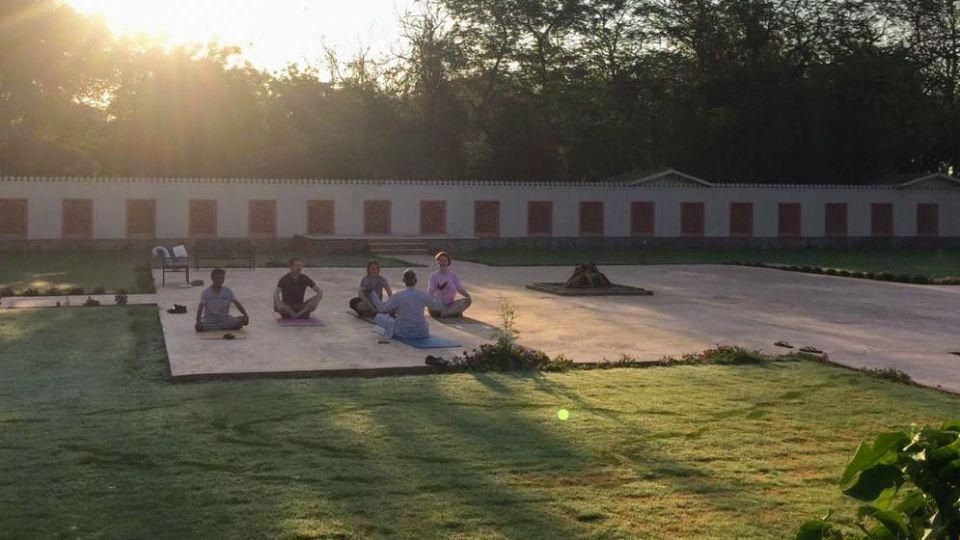 Yoga at the Rajputana Lawns - Umaid Lake Palace 2