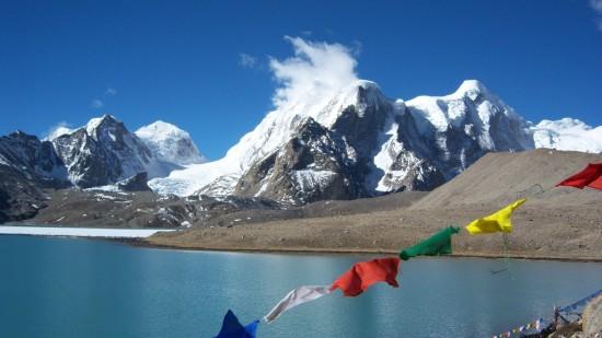 Buddhist Flag flutters in GuruDongmar Lake