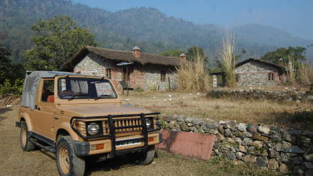 Stone crafted cottages at Wild Brook Retreat, Rajaji National Park