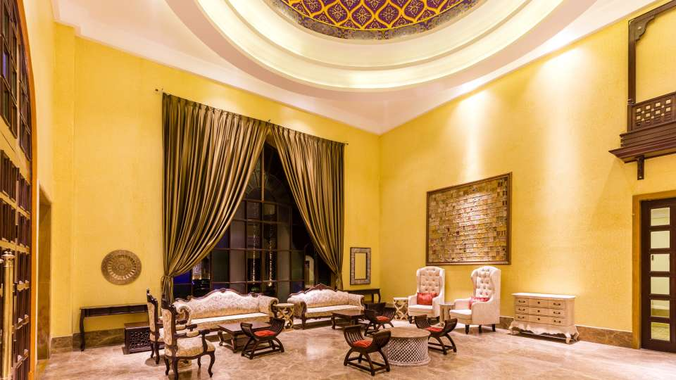 Lobby at Sairafort Sarovar Portico, hotels in Jaisalmer, Sarovar hotels