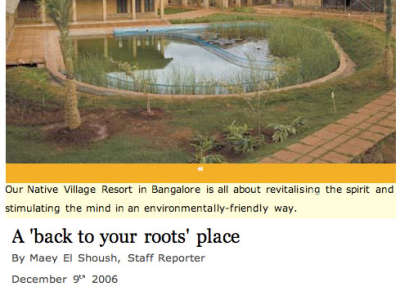 Our Native Village Bengaluru in the news press our native village bangalore eco resort 1