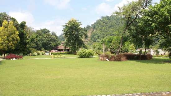 Lawns and Garddens at The River View Retreat - Corbett Resort Corbett