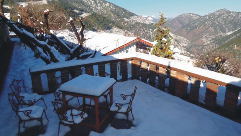 The Ramgarh Bungalows - 19th C, Kumaon Hills Kumaon Sunny snow terrace outside the dinning hall