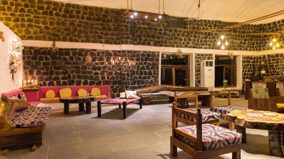 Lobby Sitting Area, Bush Dinner,  Rosa Bandhavgarh Meadows Tiger Safari Lodge 4