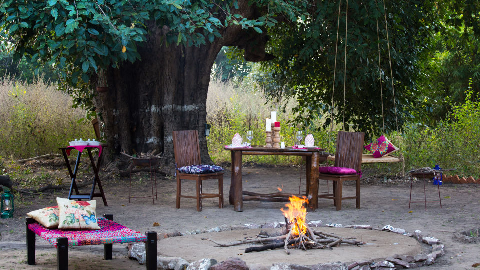 Tales by Fire place, Bush Dinner,  Rosa Bandhavgarh Meadows 3