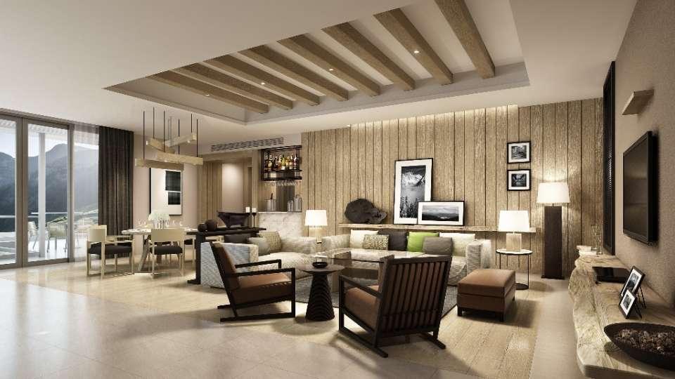 Moksha Himalaya Spa Resort, Parwanoo Chandigarh Living Dining room