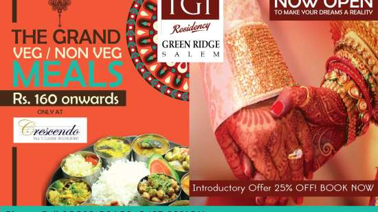 Veg and Non Veg Meals at Rs.160 in salem green ridge
