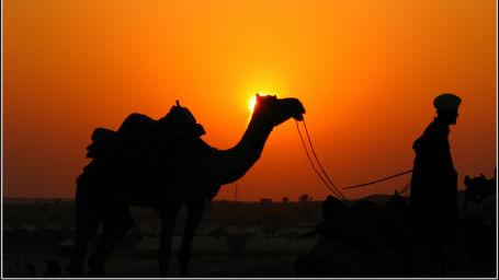 View of Desert Sunset of Rajasthan at Umaid Lake Palace Hotel Kalakho Dausa Rajasthan