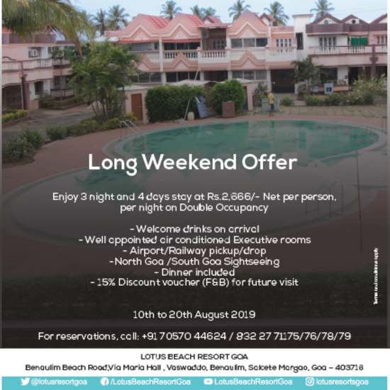 Long weekend offer at Lotus Eco Beach Resort Benaulim Goa