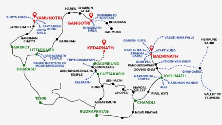 Map Chardham Yatra by Leisure Hotels