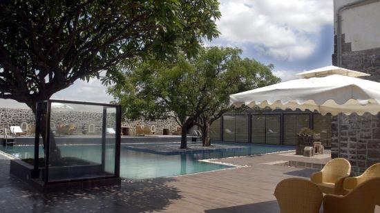 Swimming Pool Area of Fort JadhavGADH Resort Near Pune and Mumbai