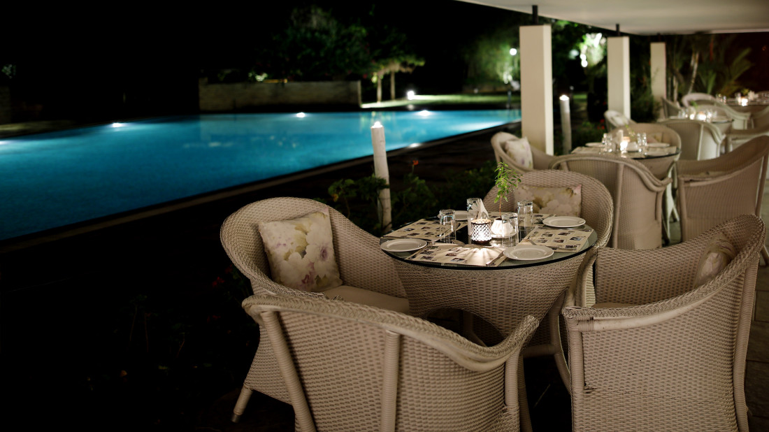 Restaurant By pool side, Amanvana Resort And Spa,Places To Eat In Coorg