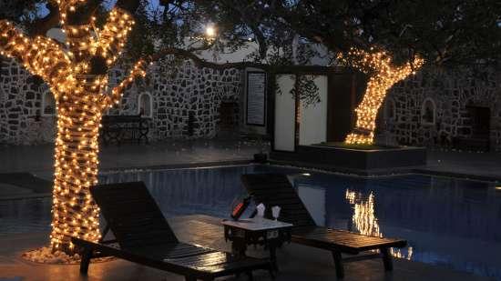 Kund Pool Side of Fort Jadhavgadh Heritage Reso Hotel Pune