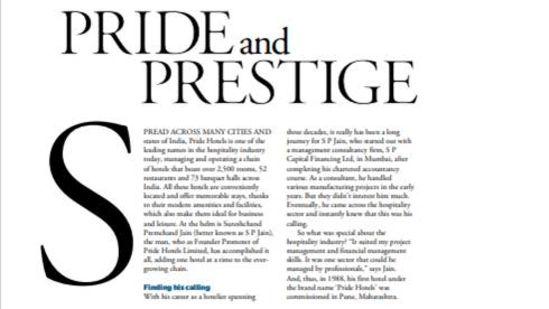 pride and prestige