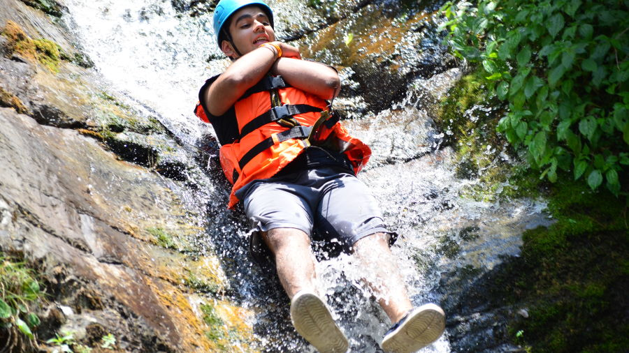 LETS Camp activity Tirthan Water Slide
