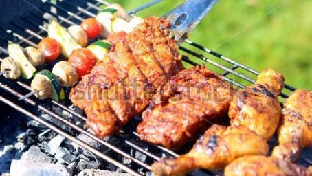 Coorg Jungle Camp, Kushalnagar Madikeri stock-photo-summertime-meal-assorted-meat-and-vegetables-on-barbecue-grill-cooked-for-summer-family-dinner-277031210