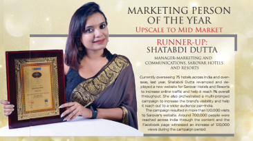 Shatabbdi Dutta- marketing person of the year, Sarovar Hotels, Leading chain of hotels in India