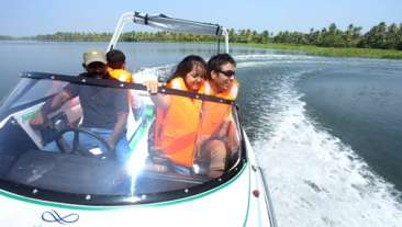 Speed boat ride at Vasundhara Sarovar Premiere Vayalar Kerala