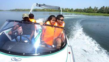 Speed boat ride at Vasundhara Sarovar Premiere Vayalar Kerala