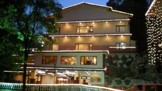 Facade with swimming pool at our hotel in Mussoorie, Hotel Madhuban Sarovar Portico, Mussoorie