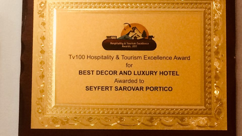 Best décor and luxury hotel award, Hotel Seyfert Sarovar Premiere, Dehradun