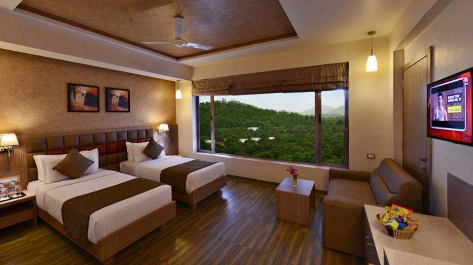 Twin Bed Rooms at Our Hotel in Sasan Gir, Stay near Gir National Park, Sarovar Portico, Sasan Gir