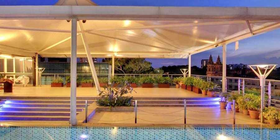alt-text Iris Hotel Bangalore Open Terrace at Iris Hotel on Brigade Road Bangalore
