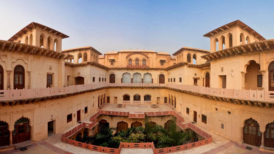 The centre courtyad of Rani Mahal Hotel Tijara Palace, Rooms in Tijara 1