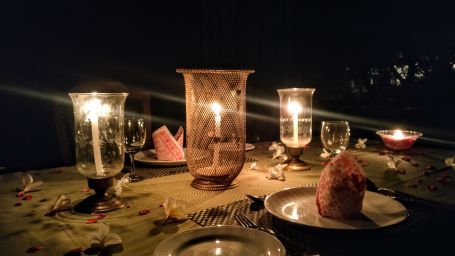 Candle Light Dinner Set up - Umaid Lake Palace 7