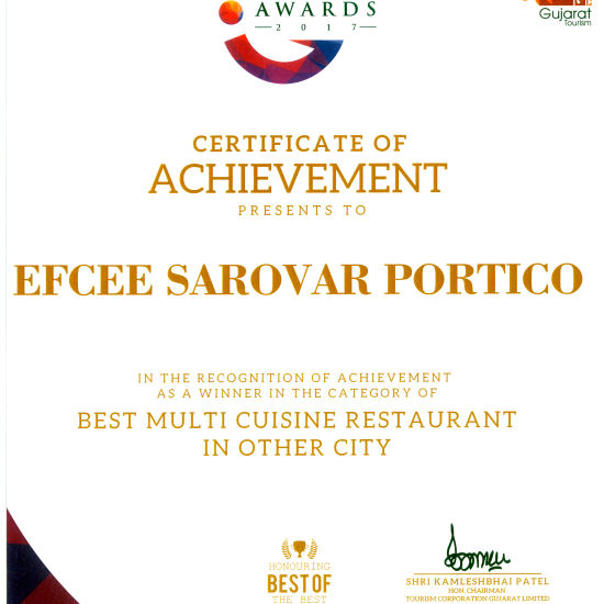 Gujarat Tourism Awards 2017 Multi Cuisine 1