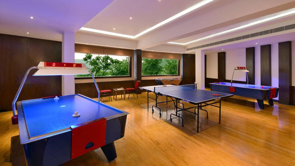 Pool table at games zone in Ananta Udaipur resort