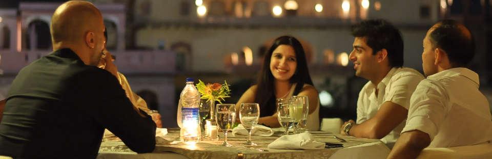 Tijara Fort Palace - Alwar Alwar Dinner by the elephant stairway Hotel Tijara Fort Palace Alwar Rajasthan.JPG 2