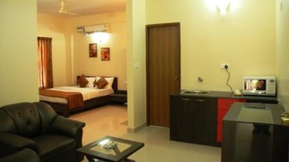 Hotel Arama Suites Bangalore living   bedroom area terra suite 2 hotel arama suites bangalore