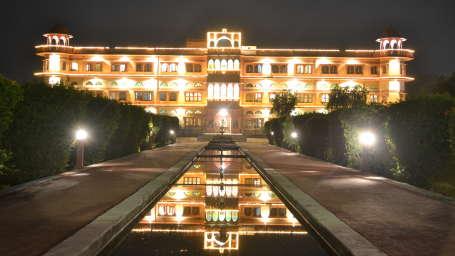 Umaid Lake Palace Dausa  Hotel Facade - Palace light up at night 2