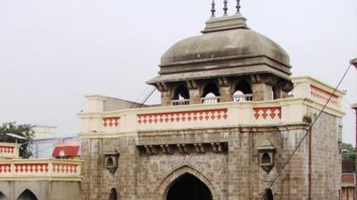 Tuljabhavani Mandir Mahadwar  Main entrance gate Balaji Sarovar Premiere Solapur