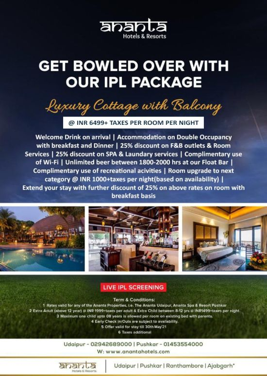 IPl screening package for Udaipur and Pushkar