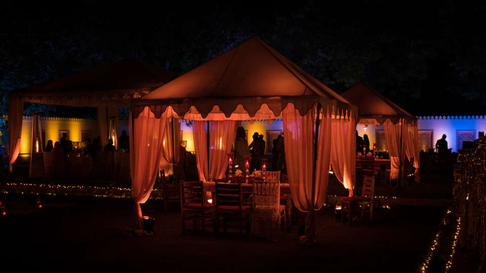 Night Outdoor Lawn Set Up - Umaid Lake Palace 3