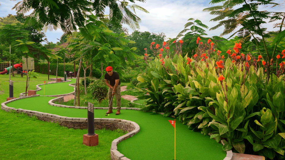 green golf course at the best resorts in Udaipur