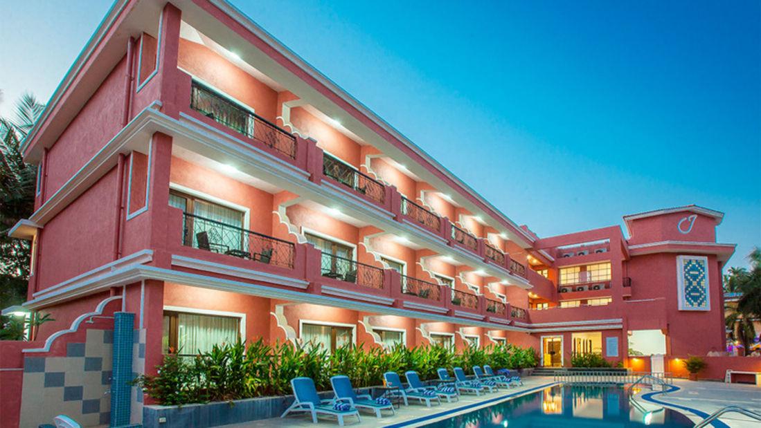 Facade of Jasminn Hotel in Goa