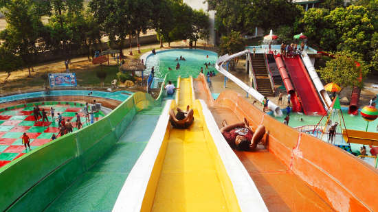 People enjoying summer vacation at Anandi Water Park on eastern outskirts of Lucknow  U.P.