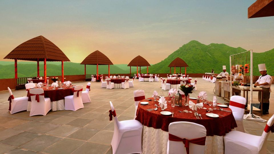 Table settings at the Rooftop restaurants in Udaipur