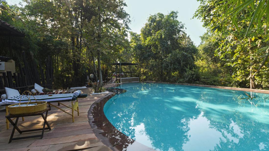 Swimming pool at Reni Pani Jungle Lodge- near Satpura National Park 1qed